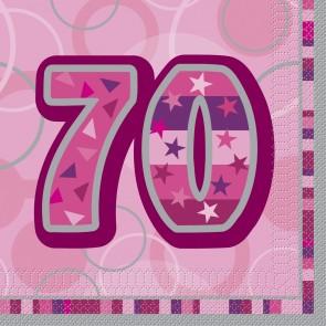 Age 70 Pink Glitz Paper Napkins