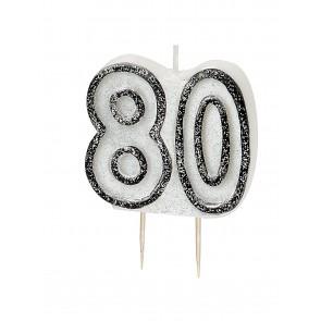 Age 80 Black & Silver Glitz Candle