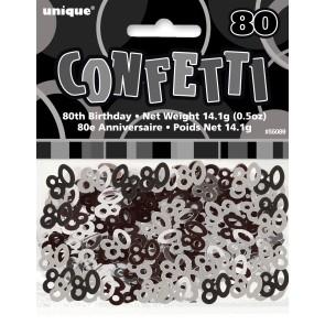 Age 80 Black & Silver Glitz Confetti