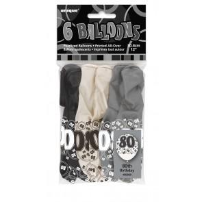 Age 80 Black & Silver Glitz Latex Balloons