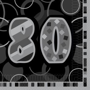 Age 80 Black & Silver Glitz Paper Napkins