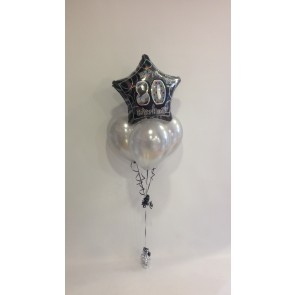 Age 80 Black Glitz & Silver Balloon Bundle