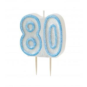 Age 80 Blue Glitz Candle