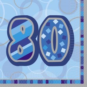 Age 80 Blue Glitz Paper Napkins