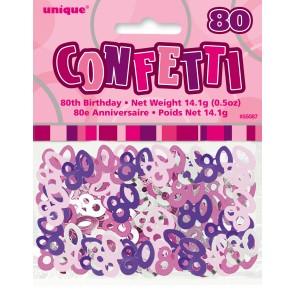 Age 80 Pink Glitz Confetti