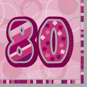 Age 80 Pink Glitz Paper Napkins