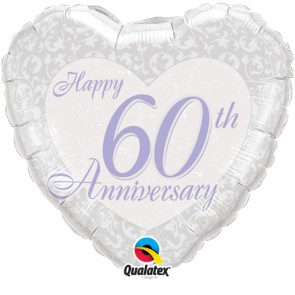60th Wedding Anniversary Foil Balloon