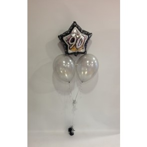 Age 90 Black Glitz & Silver Balloon Bunch