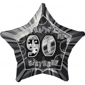 Age 90 Black & Silver Glitz Foil Balloon