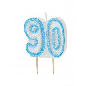 Age 90 Blue Glitz Candle