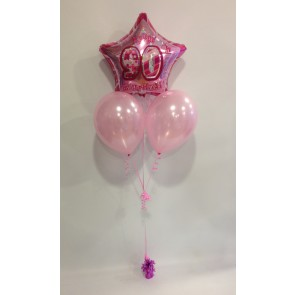 Age 90 Pink Glitz Balloon Bunch