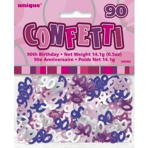 Age 90 Pink Glitz Confetti