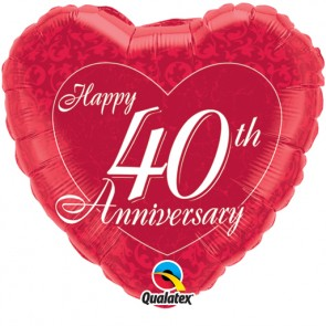 40th Anniversary  Heart Foil Balloon