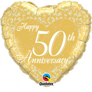 50th Anniversary Heart Foil Balloon
