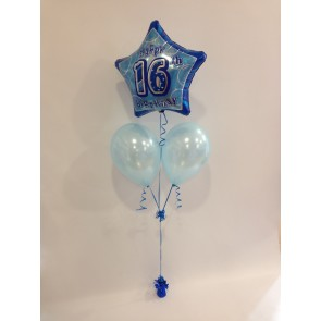 Age 16 Blue Glitz Balloon Bunch