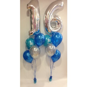 Age 16 Silver and Blue Balloon Burst