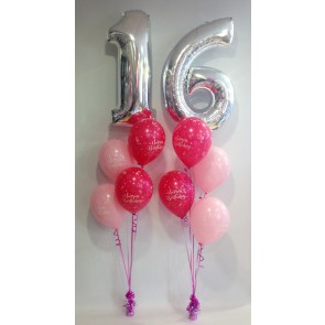 Age 16 Silver And Pink Balloon Burst
