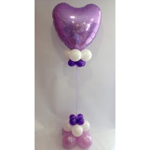 Age 18 Personalised Lilac and Purple Heart Statement Piece