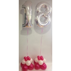 Age 18 Silver Numbers with a Hot Pink & Silver Trio Base
