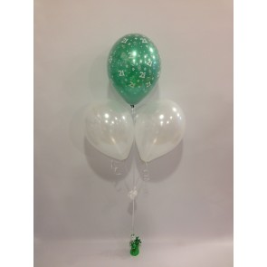 Age 21 Emerald Green and White 3 Latex Pyramid Bouquet