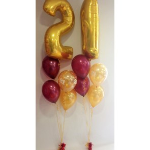 Age 21 Gold And Burgandy Balloon Burst