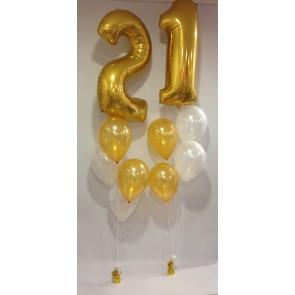 Large Gold 21 Number Balloon Burst