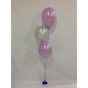 Age 21 Silver and Lilac 3 Latex Staggered Balloon Bouquet
