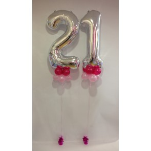 Age 21 Silver Large Numbers with a Double Pink Balloon Collar