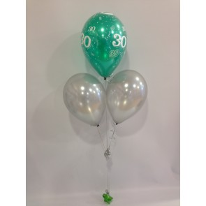 Age 30 Emerald Green and Silver 3 Latex Pyramid Balloon Bouquet