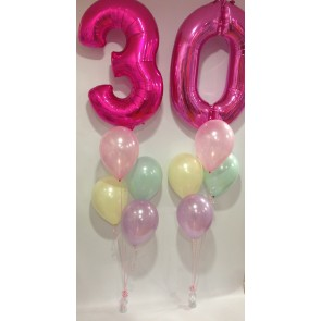 Age 30 Hot Pink with Pastels Balloon Burst