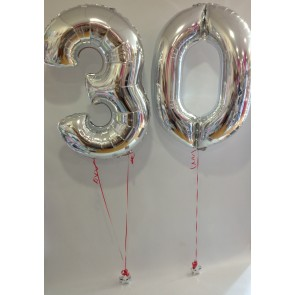 Large Silver 30 Number Balloons (With Red Ribbon)