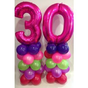 Age 30 Neon Balloon Columns