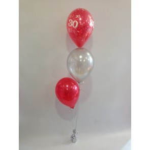 Age 30 Red and Silver 3 Latex Staggered Bouquet