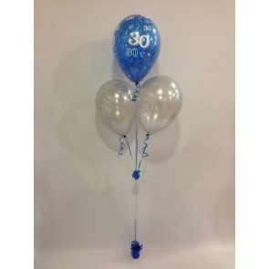 Age 30 Sapphire Blue and Silver 3 Latex Pyramid Balloon Bouquet