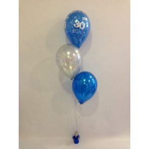 Age 30 Sapphire Blue and Silver 3 Latex Staggered Balloon Bouquet