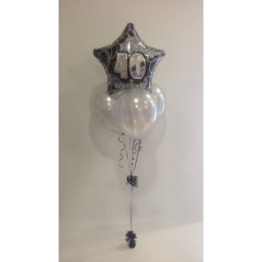 Age 40 Black Glitz & Silver Balloon Bundle
