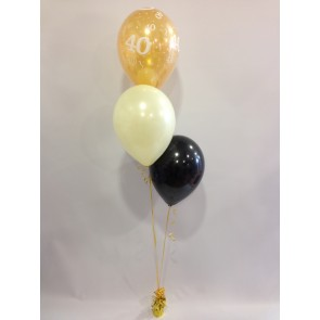 Age 40 Gold, Ivory and Black 3 Latex Staggered Bouquet