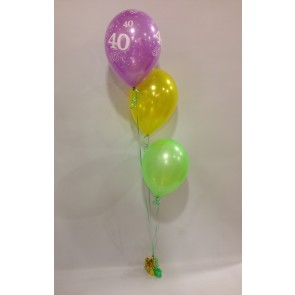 Age 40 Neon Multicoloured 3 Staggered Balloon Bouquet