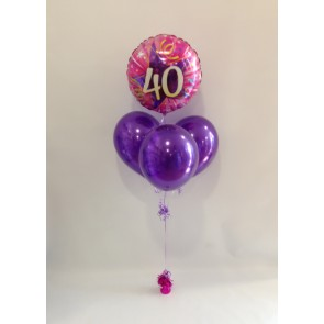 Age 40 Pink and Purple Balloon Bundle
