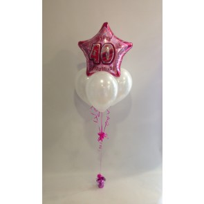 Age 40 Pink Glitz & White Balloon Bundle