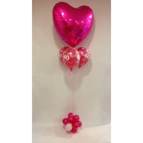 Age 40 Hot Pink Heart with Flower Base