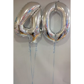 Large Silver 40 Number Balloons