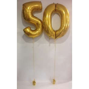 Large Gold 50 Number Balloons
