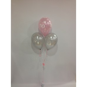 Age 50 Pale Pink and Silver 3 Latex Pyramid Bouquet