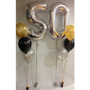 AGE 50 SILVER,BLACK & GOLD CLASSIC BALLOON PACKAGE