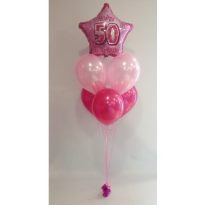 Age 50 Pink Glitz Hot Pink & Pale Pink 5 Balloon Bundle
