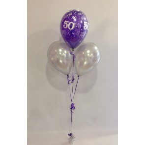 Age 50 Purple & Silver 3 Latex Pyramid Bouquet