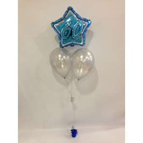 Age 60 Blue Glitz Balloon Bunch