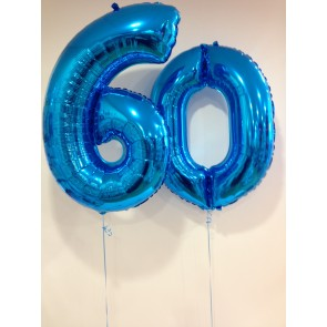 Large Blue 60 Number Balloons