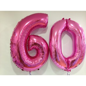 Large Pink 60 Number Balloons